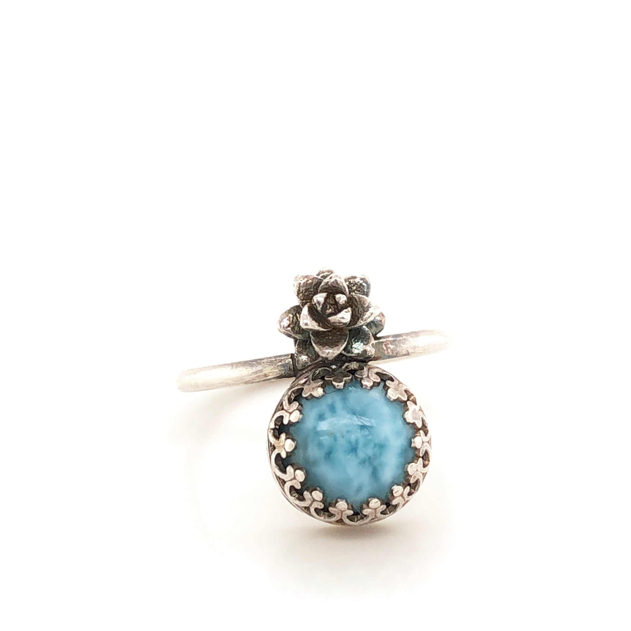 Crowned Larimar and Silver Succulent Ring,Size 6.25