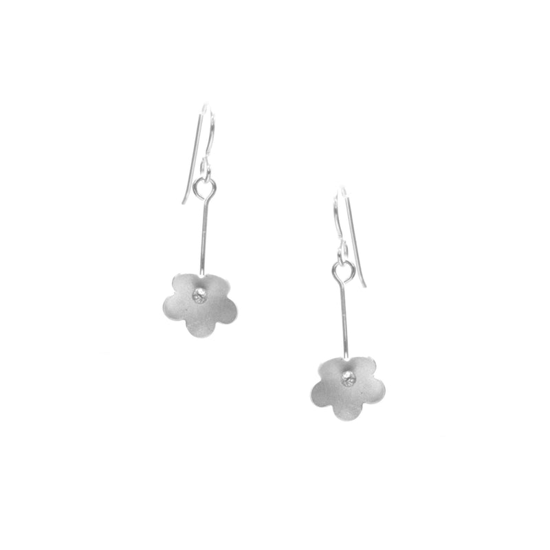 Forget-Me-Not Earrings, Single Blossom Drop available in Sterling Silver, Rose Gold, Yellow Gold, Copper, Bronze