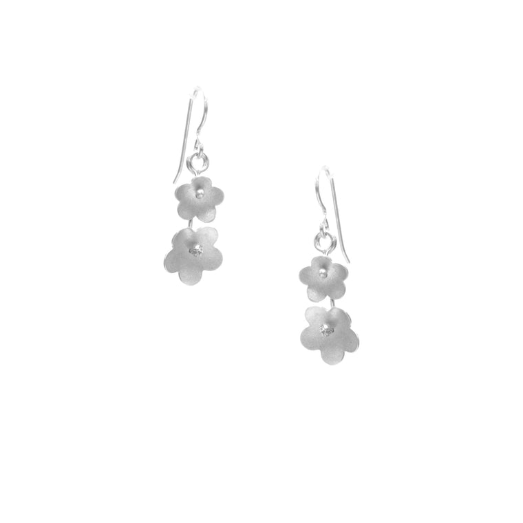 Forget-Me-Not Earrings, Petite Double Blossom Drop