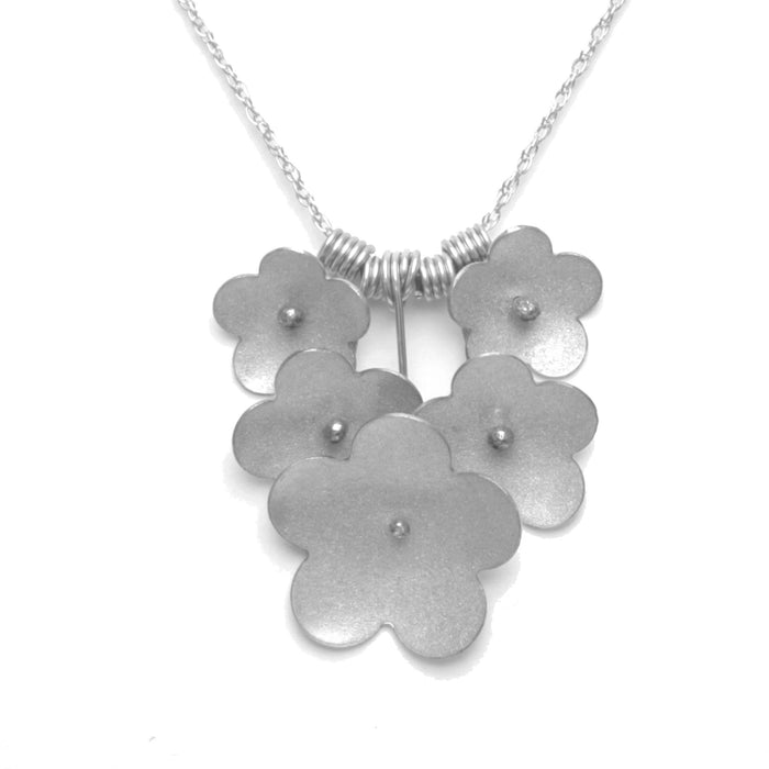 Forget-Me-Not Bouquet Necklace available in Sterling Silver, Rose Gold, Yellow Gold, Copper, Bronze