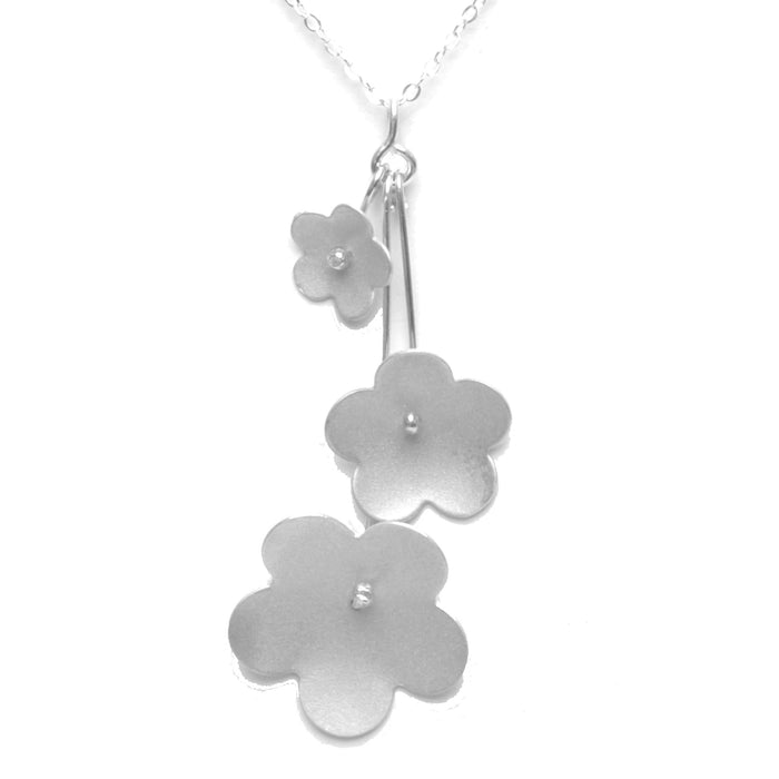 Forget-Me-Not Trinity Necklace available in Sterling Silver, Rose Gold, Yellow Gold, Copper, Bronze