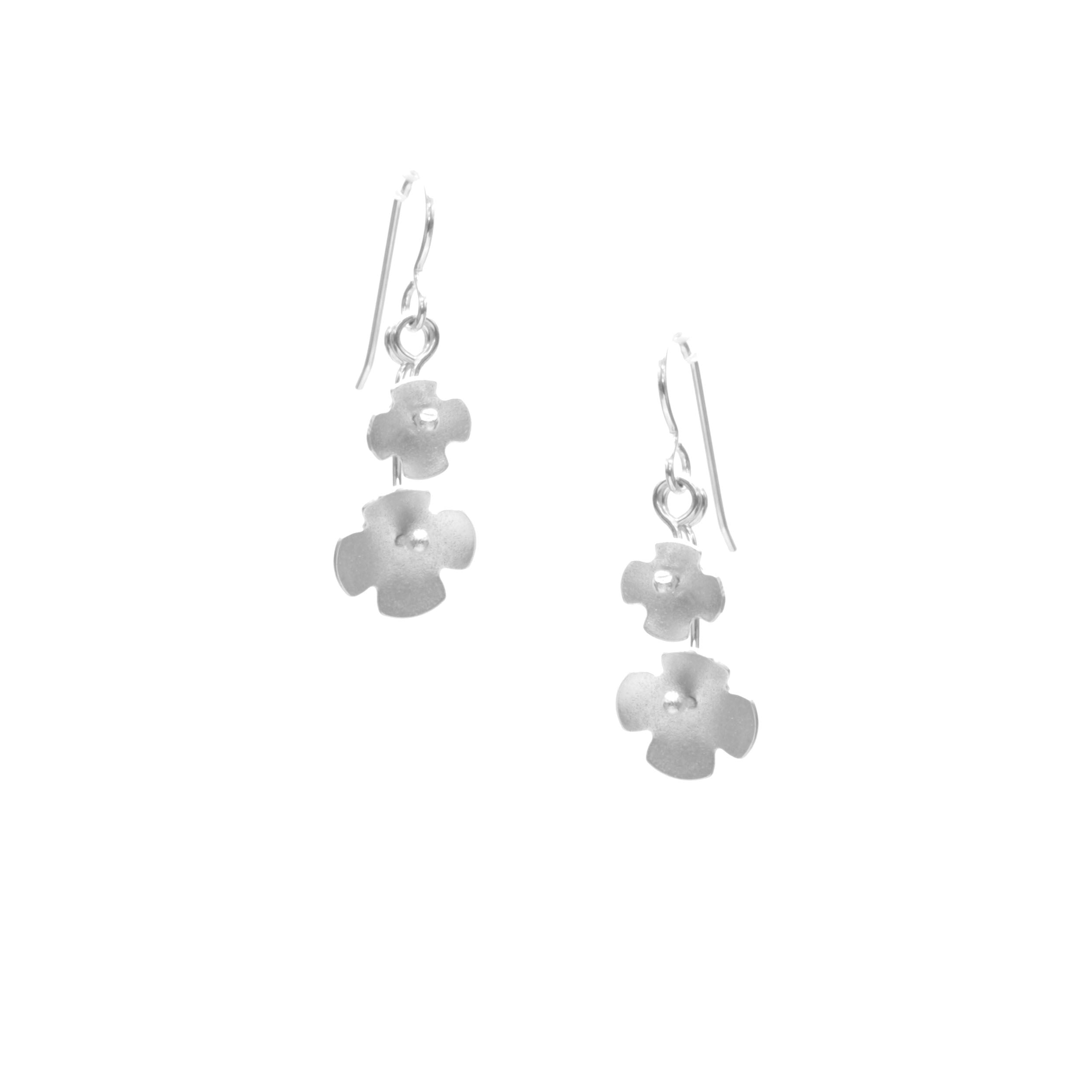 Hydrangea Earrings, Petite Double Blossom Drop
