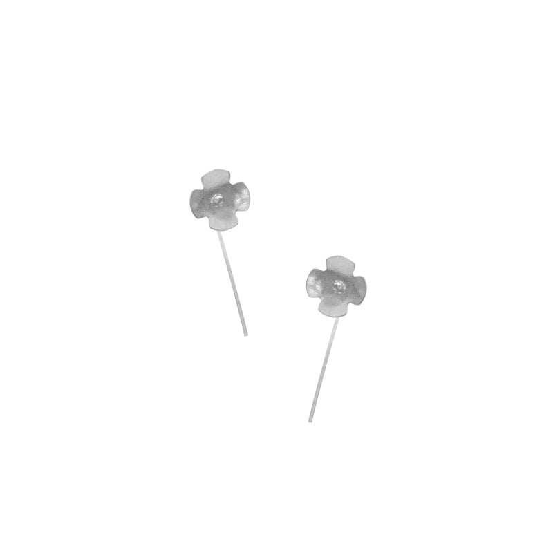 Hydrangea Earrings, Single Blossom Stick