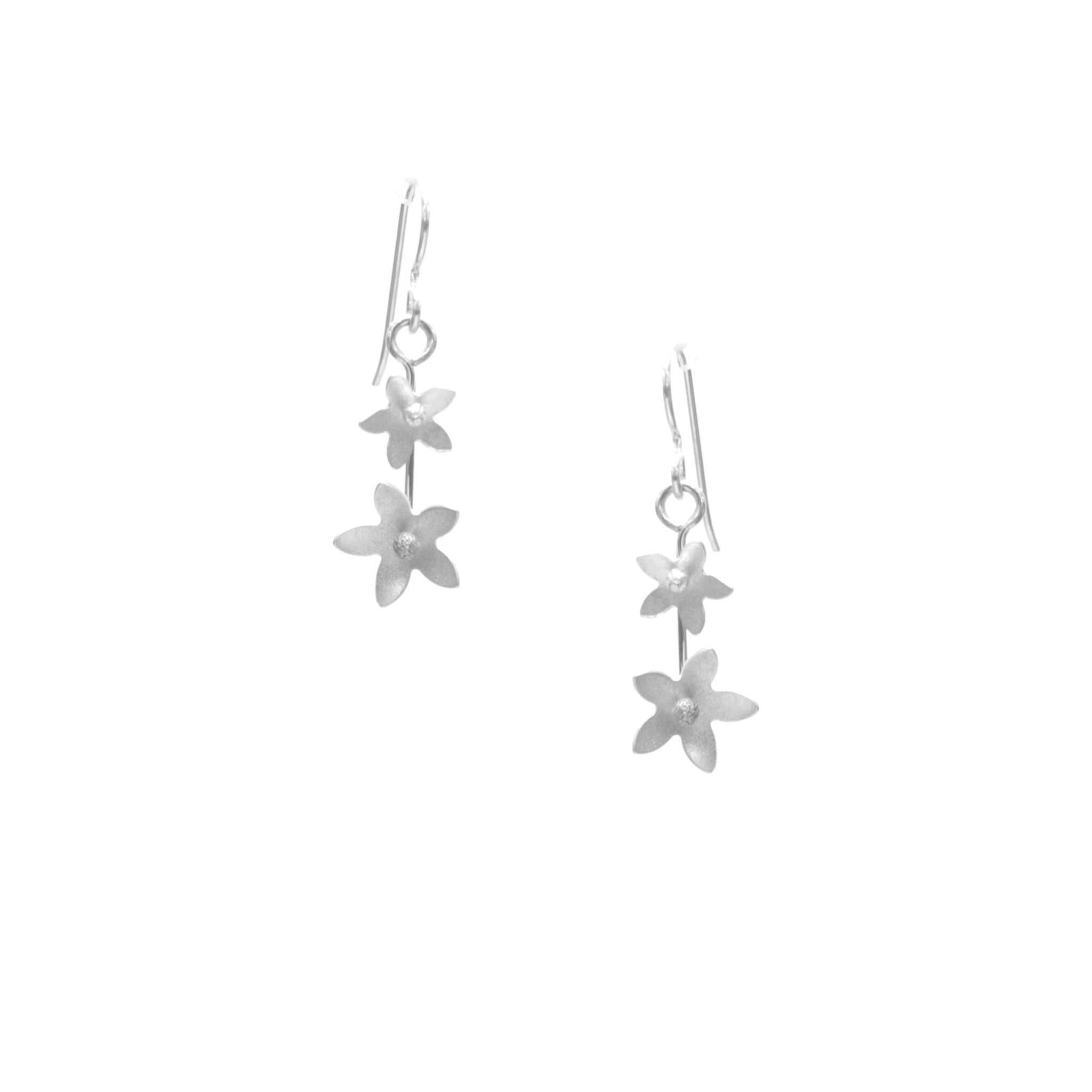 Jasmine Earrings, Petite Double Blossom Drop
