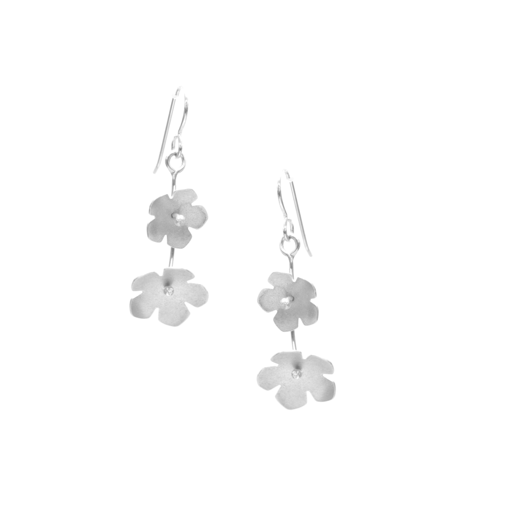Wild Strawberry Earrings, Double Blossom Drop
