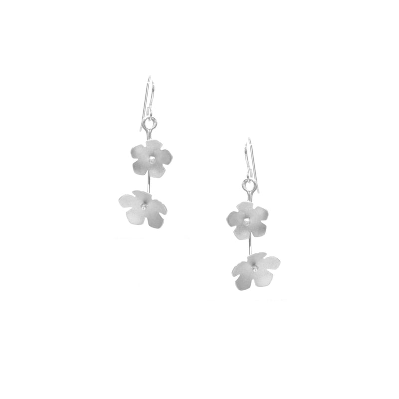 Wild Strawberry Earrings, Petite Double Blossom Drop