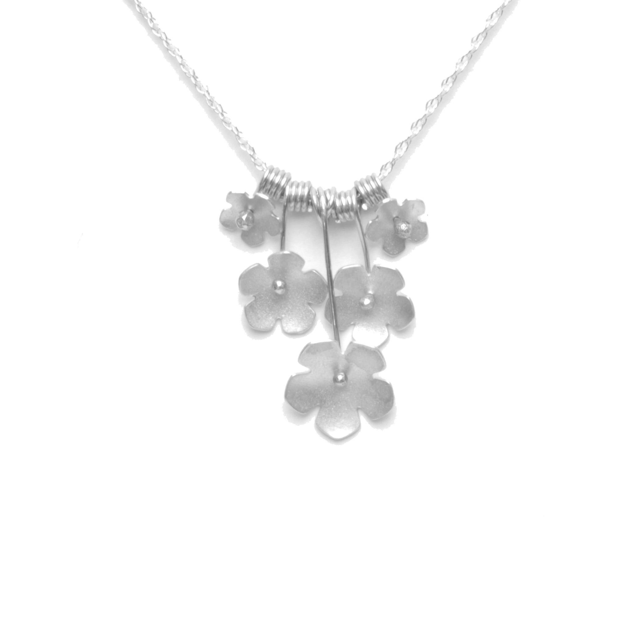 Wild Strawberry Blossom Bouquet Necklace, Petite