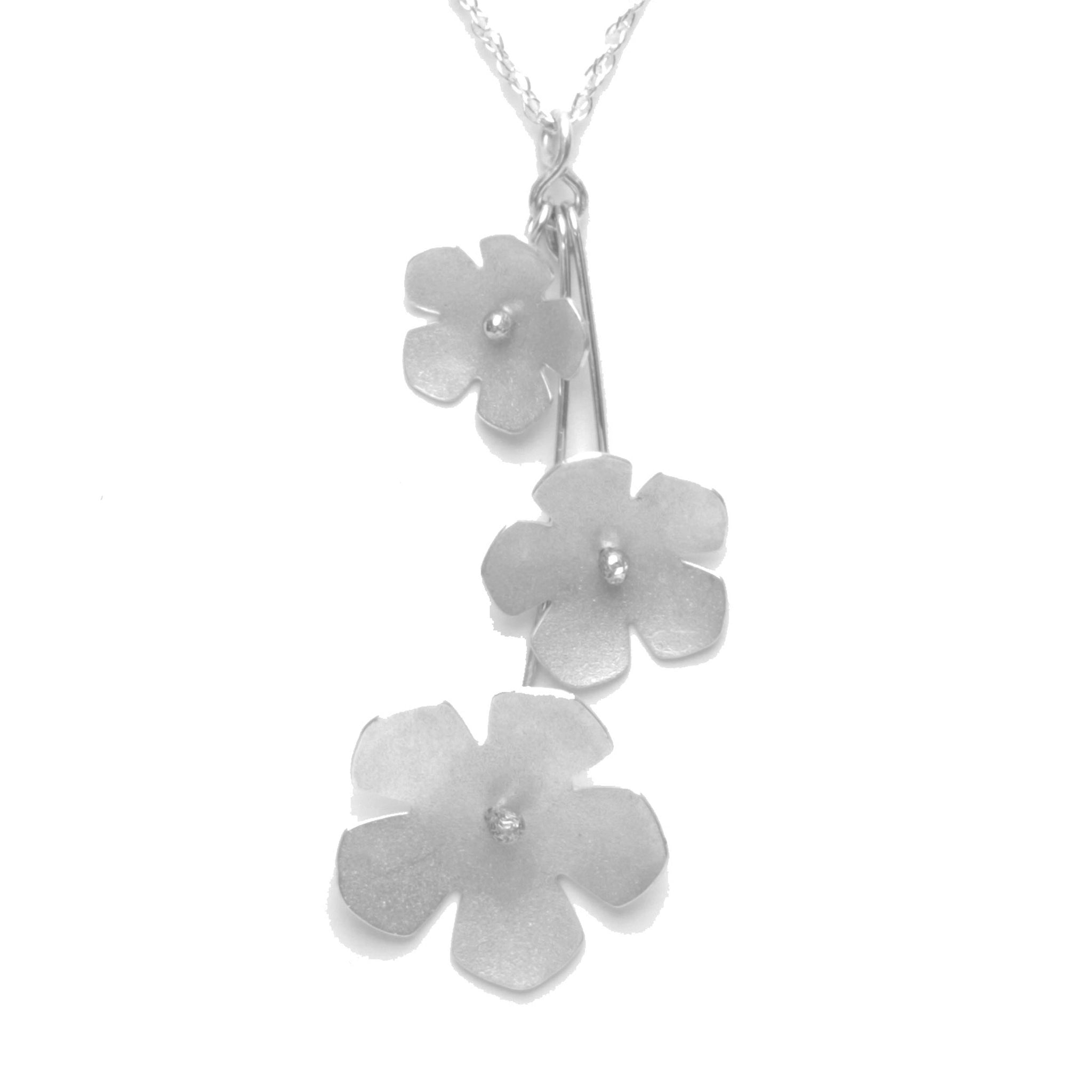Wild Strawberry Blossom Trinity Necklace