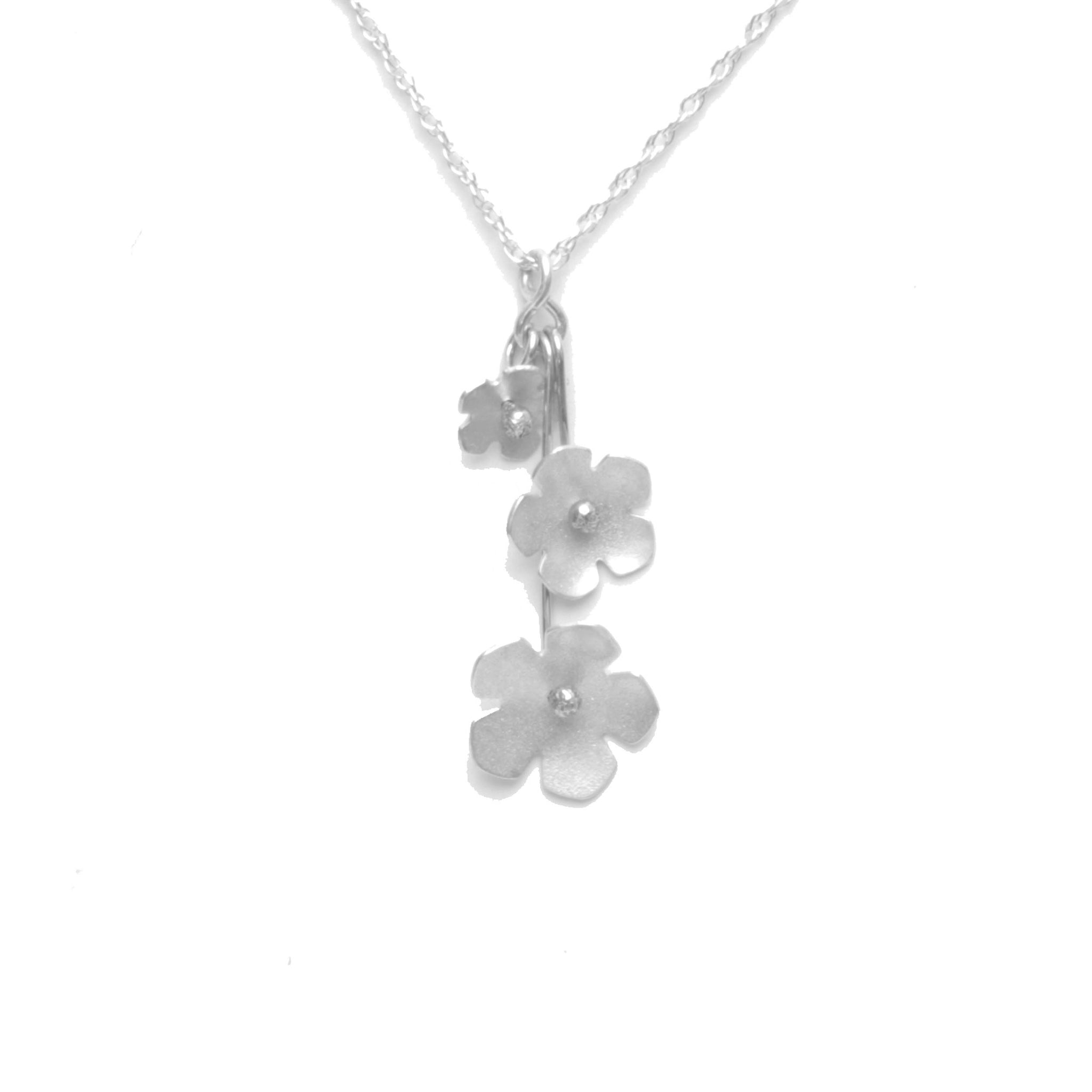Wild Strawberry Blossom Trinity Necklace, Petite