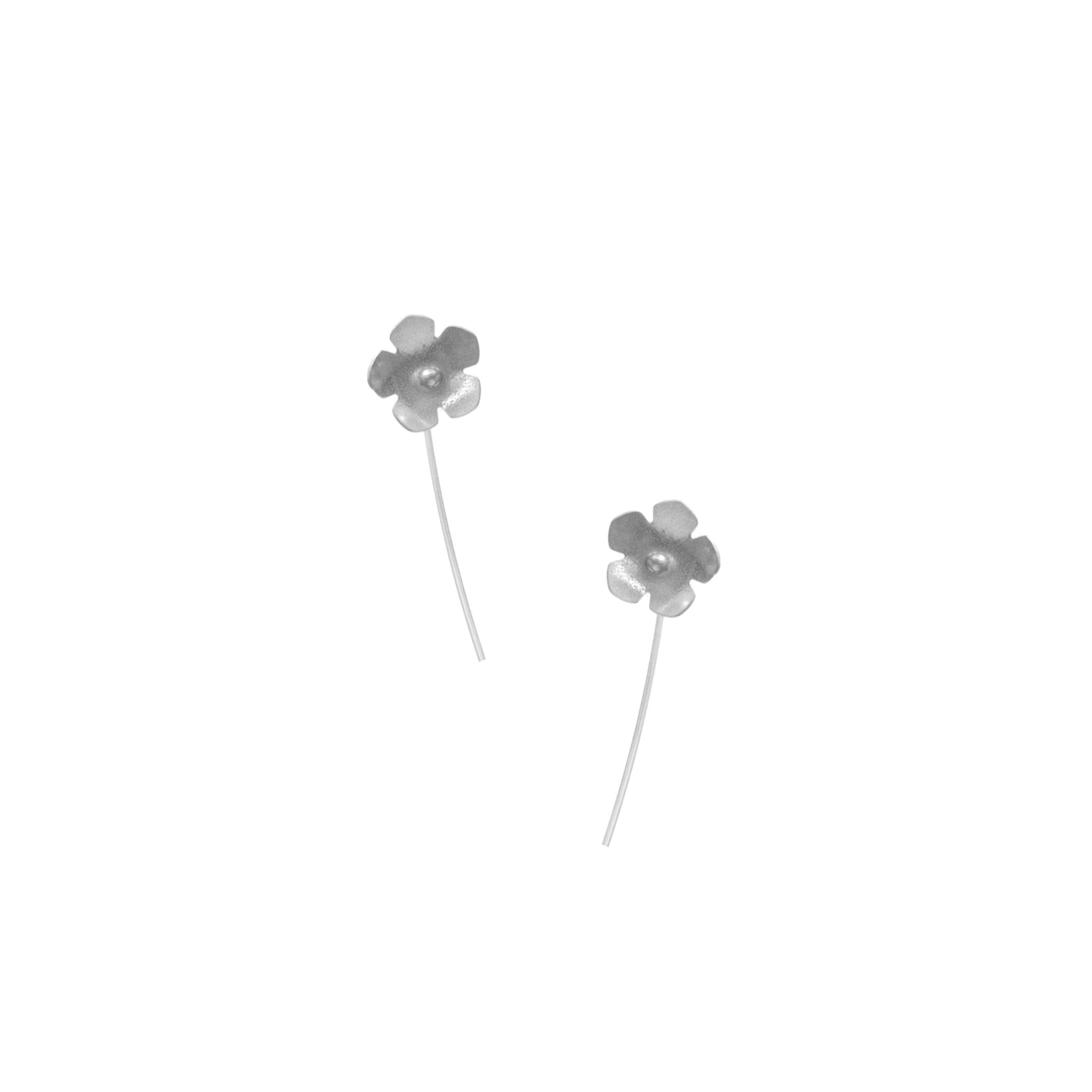 Wild Strawberry Earrings, Single Blossom Stick