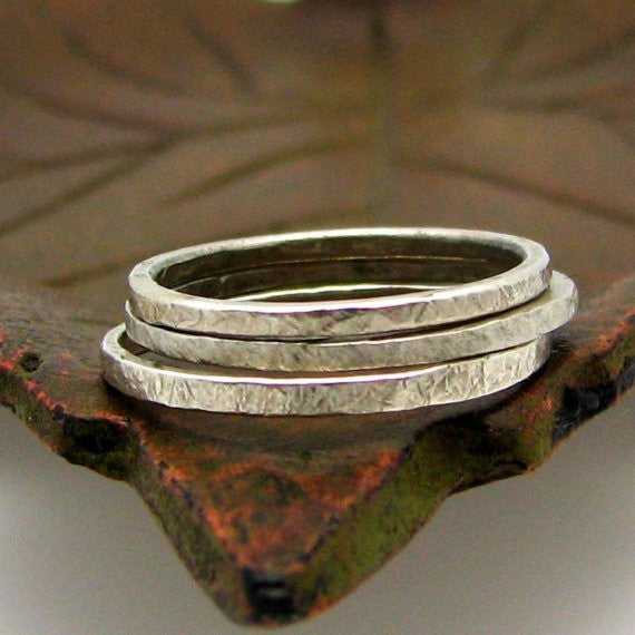 Sterling Silver Stacking Ring, Slate Texture