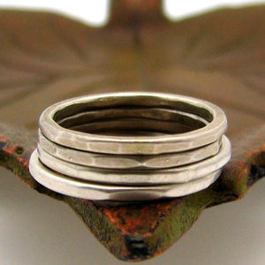 Sterling Silver Stacking Ring, Fluted Texture