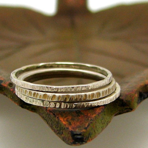 Sterling Silver Stacking Ring, Hash Mark Texture