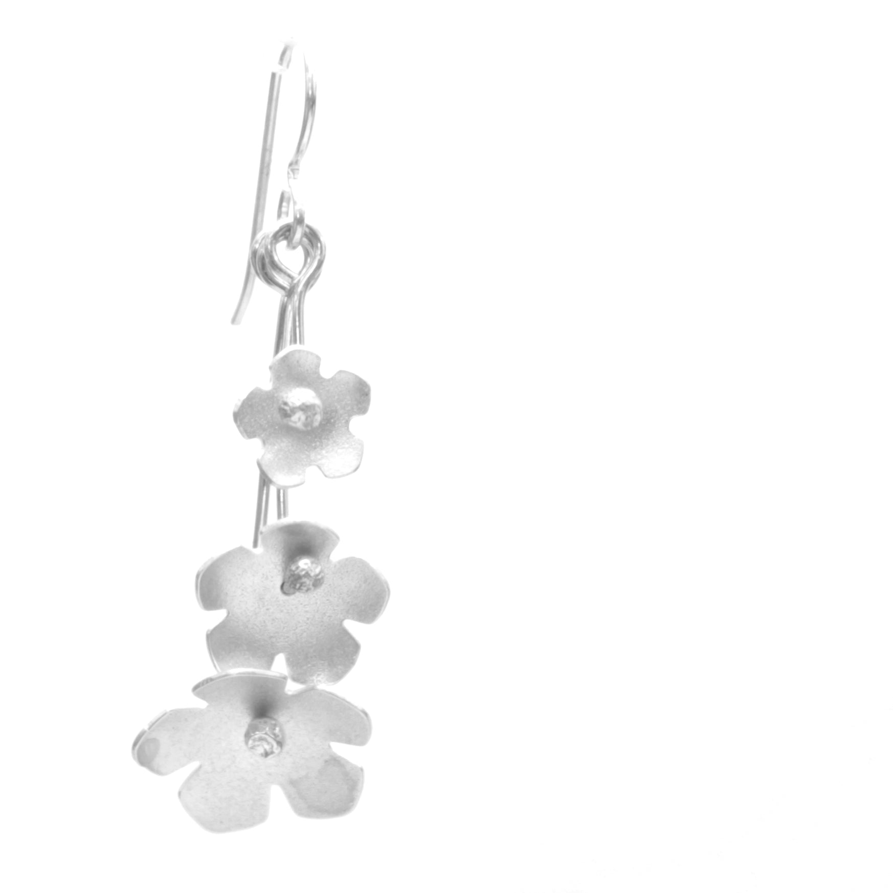 Wild Strawberry Earrings, Triple Blossom Drop