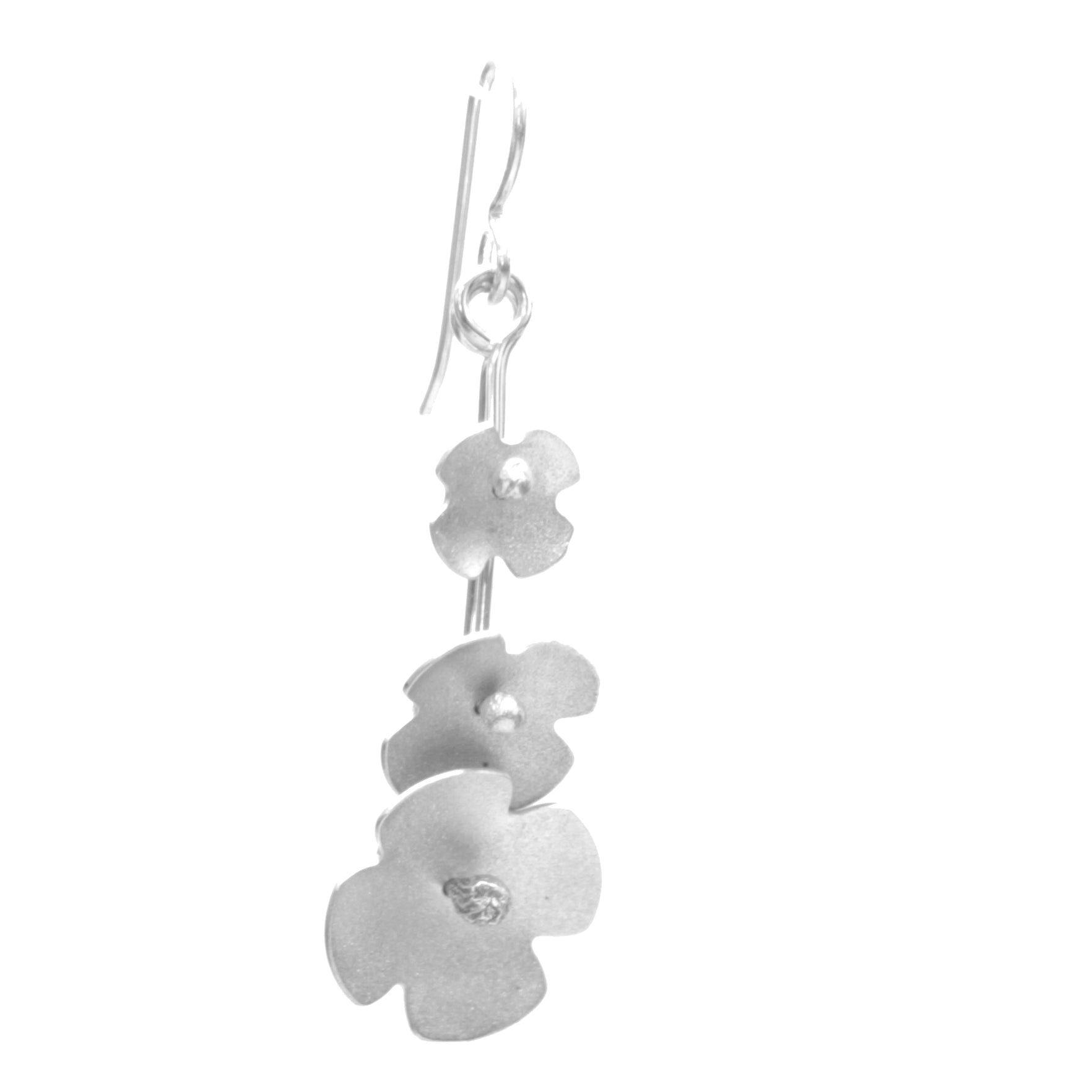Hydrangea Earrings, Triple Blossom Drop