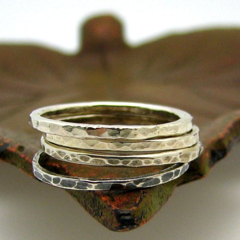 Sterling Silver Stacking Ring, Tree Bark Texture