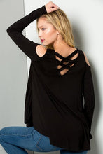 Load image into Gallery viewer, Black Cold Shoulder Criss-Cross back