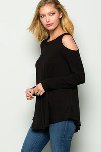 Black Cold Shoulder Criss-Cross back