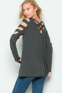 Charcoal Lattice Sleeve with Criss-Cross Back