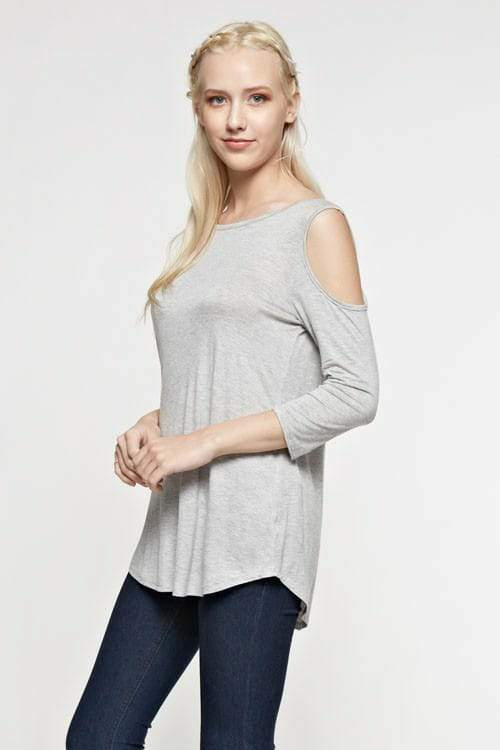Light Grey Cold Shoulder Criss-Cross back