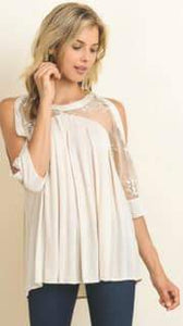 Oatmeal Lace Cold Shoulder