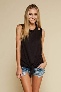 Black Sleeveless Knotted Top