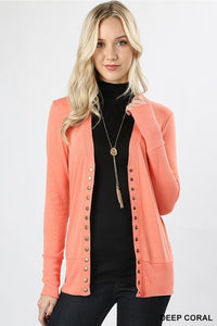 Curvy Collection Snap Front Cardigan