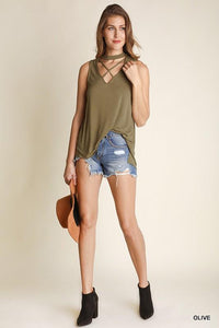 Sleeveless Top with Criss Cross V-neck and Halter Neckline