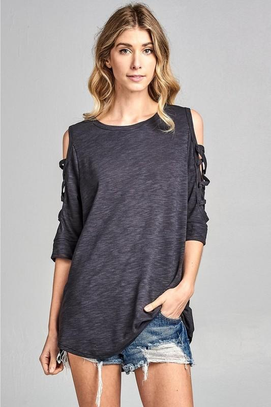 Charcoal Cold Shoulder with Criss Cross
