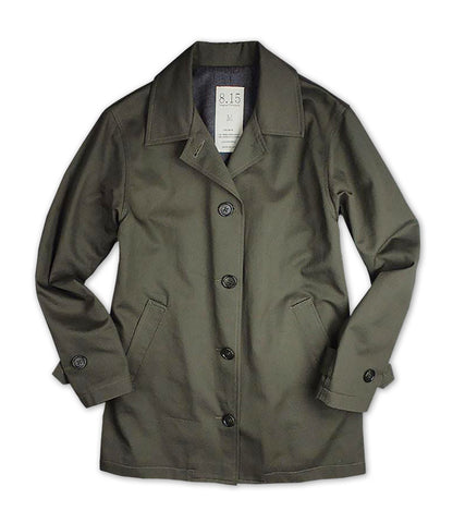 Women's Wool Lined Car Coat<BR/> Army Green / Charcoal