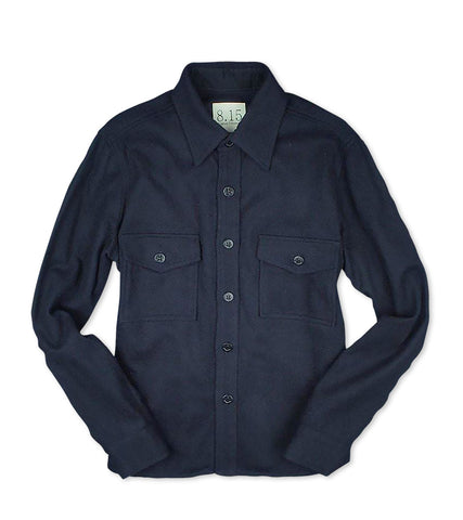 Women's Wool CPO Shirt Jacket <BR/> Navy