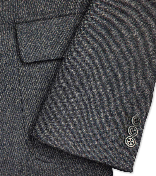 WOOL FITTED SPORT COAT <br/> Navy Salt & Pepper