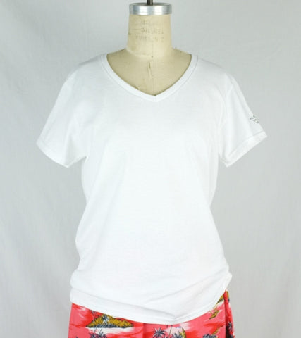 WOMEN'S V-NECK T  <br/> White