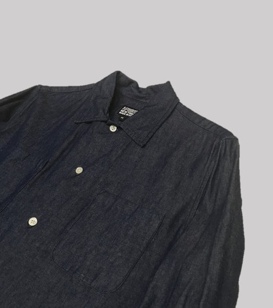 DENIM CAMP COLLAR SHIRT <br/>  Dark Wash