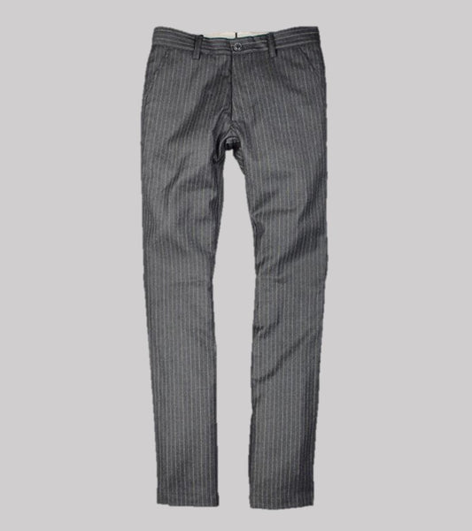 HAND TAILORED SLIM TROUSER <br/> Wool Flannel Grey Stripe