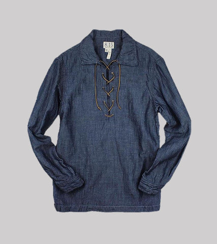 LACE-UP SHIRT <br/>   Linen / Cotton Chambray