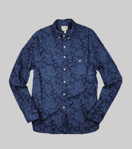NATURAL FIT B.D. L/S    <br/>Printed Flannel/Navy Flower