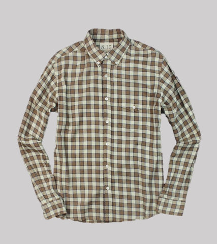 Natural Fit B.D. L/S    <br/> Flannel Plaid / Toffee/Cream Plaid