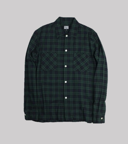 CAMP COLLAR SHIRT <br/>  Black Watch Plaid