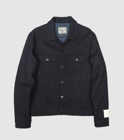 WOOL TRUCKER JACKET <br/> Navy Melton