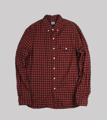 COTTON FLANNEL B.D. SHIRT <br/>  Red/Black Buffalo Plaid