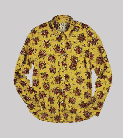Natural Fit B.D. L/S    <br/>Printed Flannel/ Gold Floral