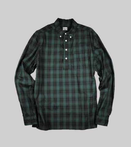 PULLOVER B.D. SHIRT <br/>  Green Plaid