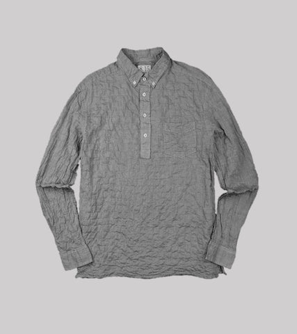 PULLOVER B.D. SHIRT <br/> Grey Wrinkle Stripe