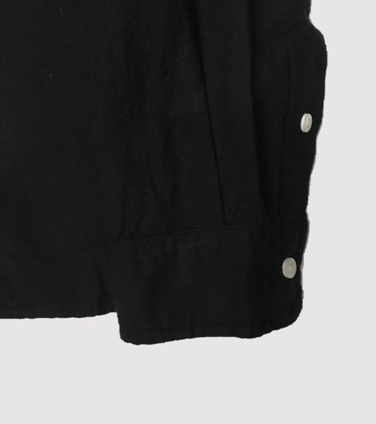 BAND COLLAR SHIRT<br/> Black Soft Twill