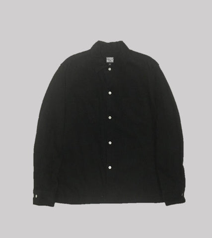 CORDUROY CAMP COLLAR SHIRT <br/>  Black Corduroy
