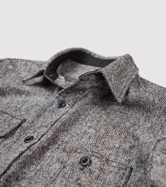 DONEGAL WOOL CPO JACKET <br/> Grey Donegal Tweed