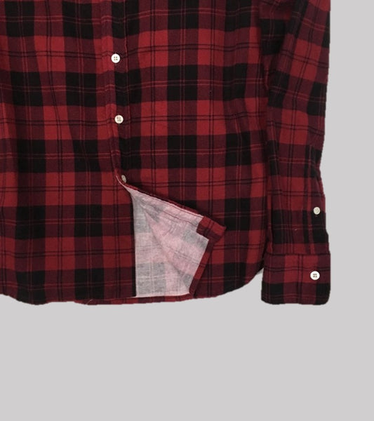 FLANNEL BUTTON DOWN SHIRT <br/>  Red Plaid