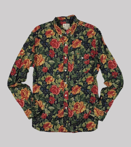 NATURAL FIT B.D. L/S    <br/>Printed Flannel/ Navy Roses