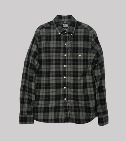 FLANNEL BUTTON DOWN SHIRT <br/>  Grey Plaid